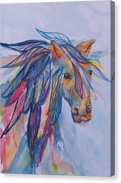 Dreamy Horse Canvas Print - Rainbow Horse Spirit by Ellen Levinson