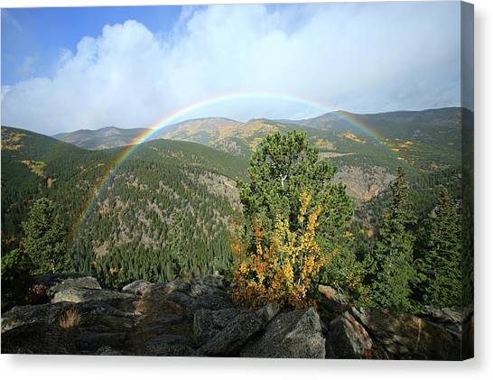 Rainbow In Mountains Canvas Print