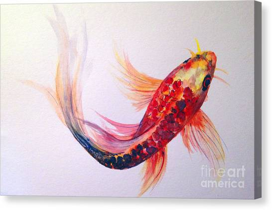Canvas Print featuring the painting Rainbow Koi by Lauren Heller