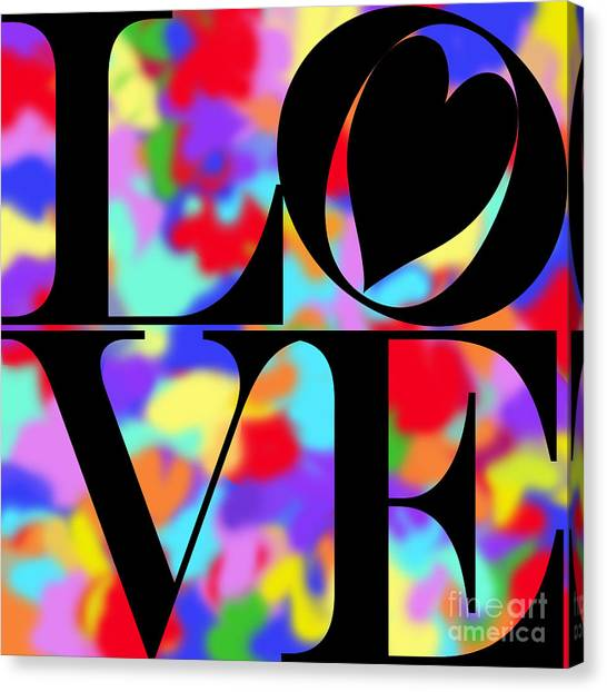 Rainbow Love In Black Canvas Print