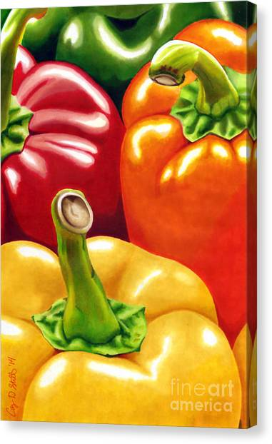 Rainbow Of Peppers Canvas Print