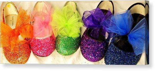 Rainbow Of Wedding Shoes Canvas Print