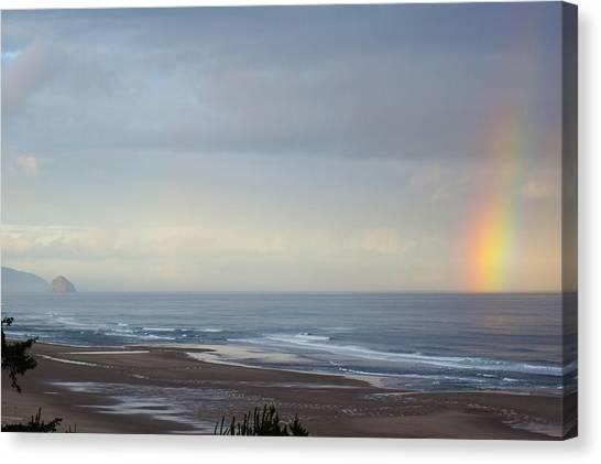 Rainbow On My Beautiful Beach Canvas Print