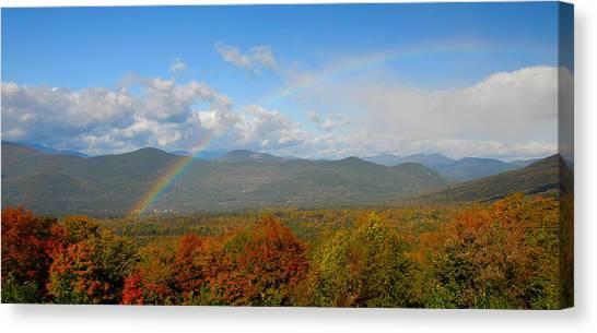 Rainbow Over Bartlett Nh Canvas Print by Ken Stampfer