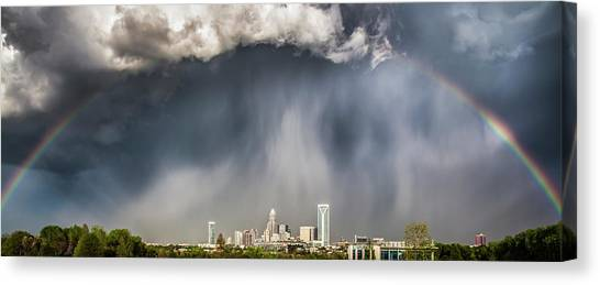 North Carolina Canvas Print - Rainbow Over Charlotte by Chris Austin