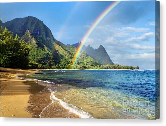 Tunnels Canvas Print - Rainbow Over Haena Beach by M Swiet Productions