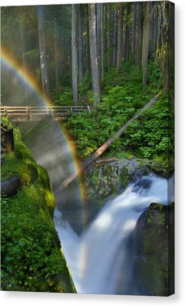 Rainbow Over Sol Duc Falls Photograph By Jim Lundgren
