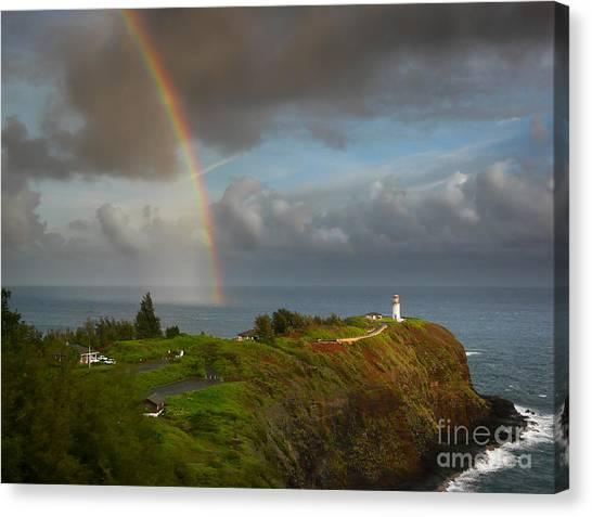 Rainbow Over Kilauea Lighthouse On Kauai Canvas Print