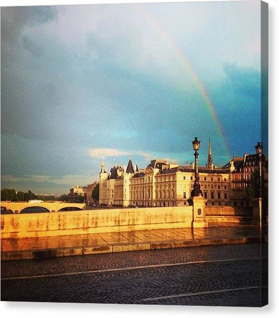 Paris Canvas Print - Rainbow Over The Seine. by Allan Piper