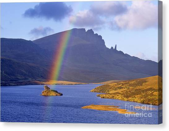 Rainbow Over The Storr Canvas Print by Derek Croucher