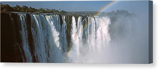 Victoria Falls Canvas Print - Rainbow Over Victoria Falls, Zimbabwe by Panoramic Images