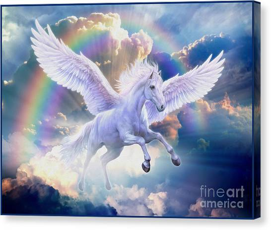 Raining Canvas Print - Rainbow Pegasus by Jan Patrik Krasny