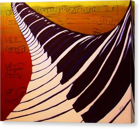 Rainbow Piano Keyboard Twist In Acrylic Paint With Sheet Music Notes In Blue Yellow Orange Red Canvas Print