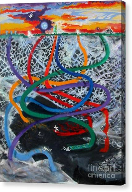 Rainbow Ribbons Canvas Print
