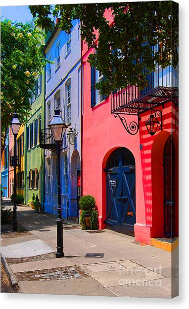 Historic House Canvas Print - Rainbow Row Charleston by Skip Willits