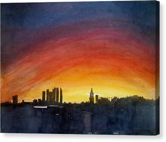 Moscow Skyline Canvas Print - Rainbow Sky by Sai P