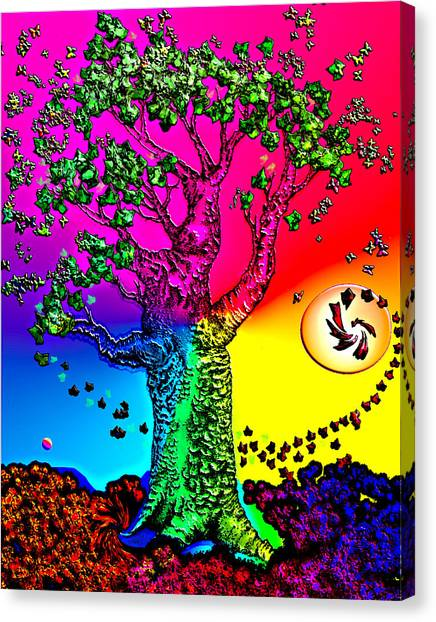 Science Fiction Canvas Print - Rainbow Sky Tree by Tanya Hamell