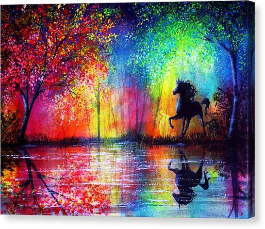 Rainbow Stallion Canvas Print by Ann Marie Bone