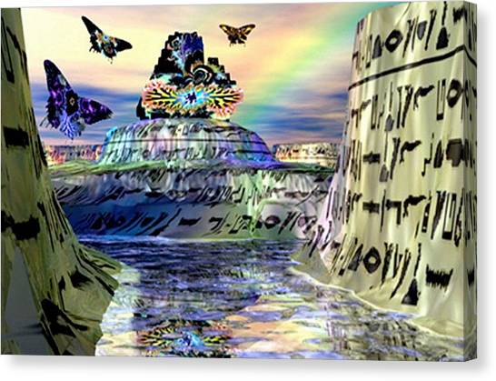 Rainbow Temple Canvas Print by Rebecca Phillips