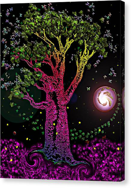 Pop Art Canvas Print - Rainbow Tree Night by Tanya Hamell
