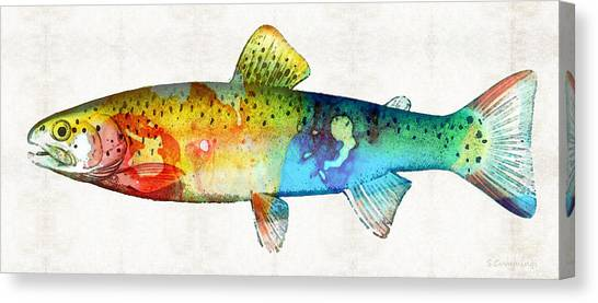 Angler Art Canvas Print - Rainbow Trout Art By Sharon Cummings by Sharon Cummings