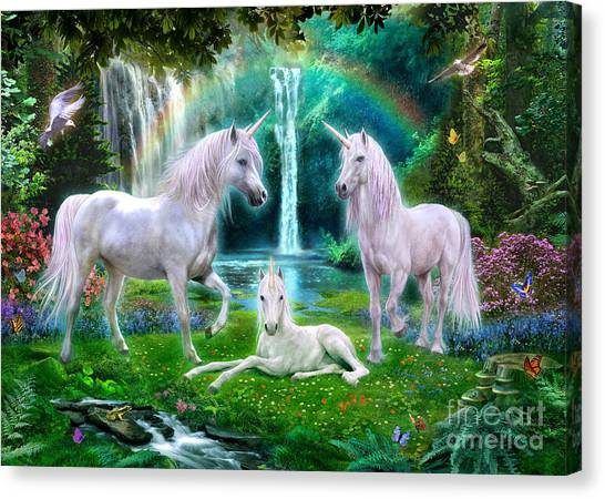 Mythological Creatures Canvas Print - Rainbow Unicorn Family by Jan Patrik Krasny