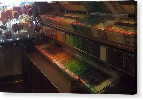 Rainbow Vintage Jelly Bean Shop Canvas Print