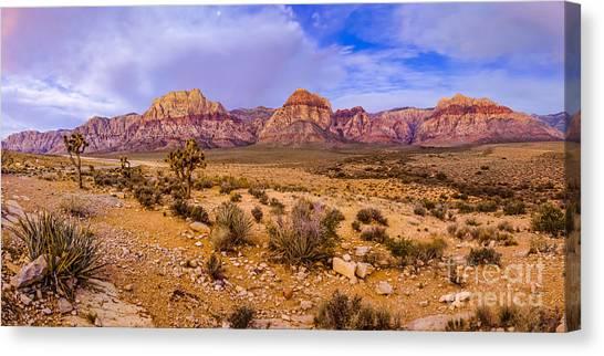 Southern Rock Canvas Print - Rainbow Wilderness Panorama At Red Rock Canyon Before Sunrise - Las Vegas Nevada by Silvio Ligutti