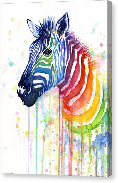 Rainbows Canvas Print - Rainbow Zebra - Ode To Fruit Stripes by Olga Shvartsur