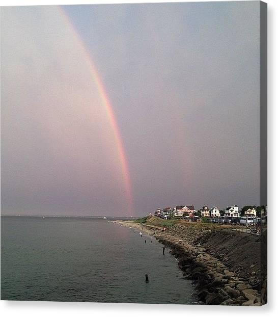 Marthas Vineyard Canvas Print - Rainbow's Over Oak Bluffs  by Eugene Bergeron