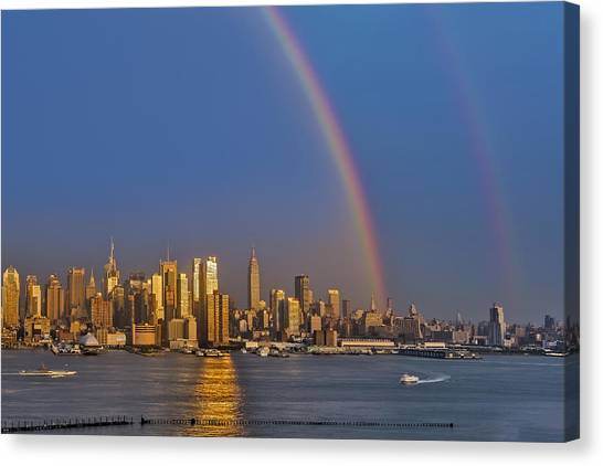 The City That Never Sleeps Canvas Print - Rainbows Over The New York City Skyline by Susan Candelario
