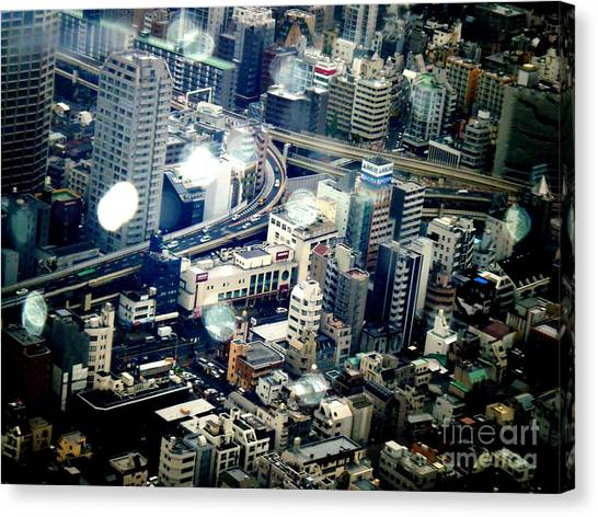 Tokyo Skyline Canvas Print - Raindrops by Nelly Bacskay