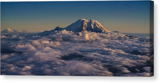 Mount St. Helens Canvas Print - Rainier Hood Adams And St Helens From The Air by Mike Reid
