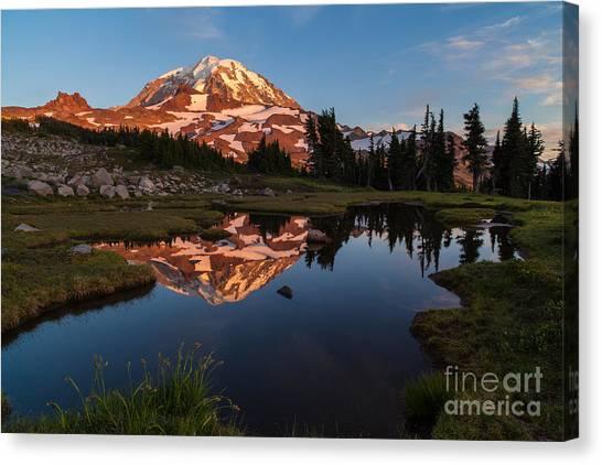 Mount Rainier Canvas Print - Rainier Last Light by Mike Reid