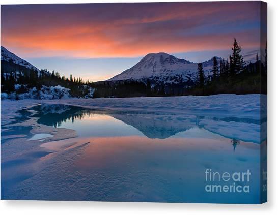 Mount Rainier Canvas Print - Rainier Snowbound Lake Sunset Skies by Mike Reid