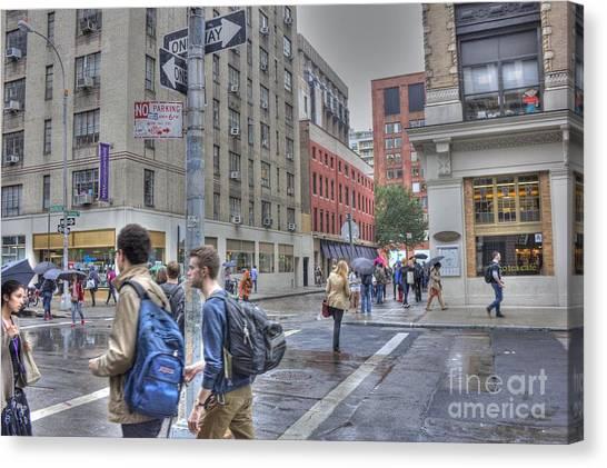 New York University Canvas Print - Raining At N Y U by David Bearden