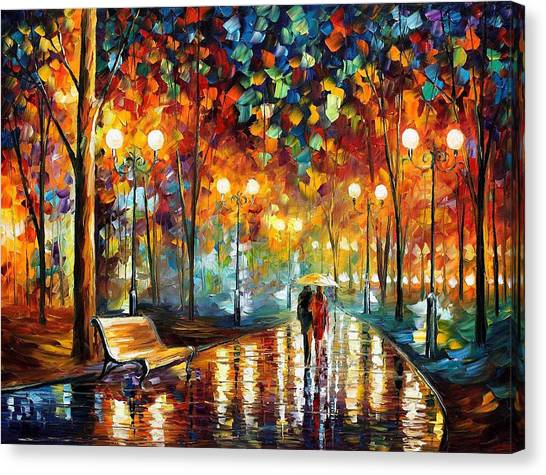 Benches Canvas Print - Rain's Rustle 2 - Palette Knife Oil Painting On Canvas By Leonid Afremov by Leonid Afremov