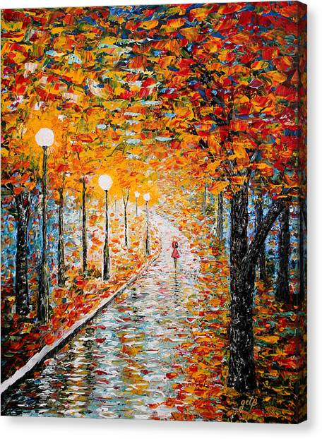Canvas Print featuring the painting Rainy Autumn Day Palette Knife Original by Georgeta  Blanaru