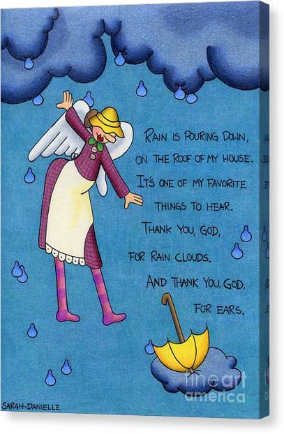 Child Drawing Canvas Print - Rainy Day Angel by Sarah Batalka