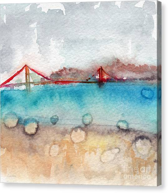Golden Gate Bridge Canvas Print - Rainy Day In San Francisco  by Linda Woods