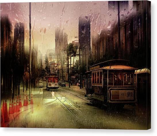 United Way Canvas Print - Rainy Day In San Francisco by Luba Chapman