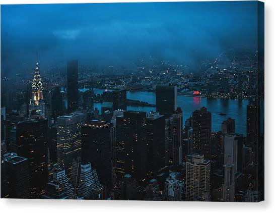 Chrysler Building Canvas Print - Rainy Day In The City by Pavol Stranak