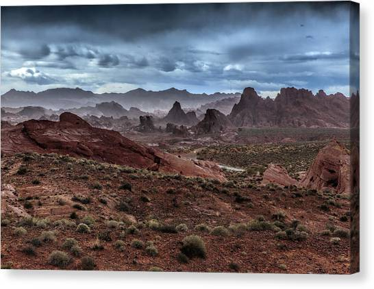 Valley Of Fire Canvas Print - Rainy Day In The Desert by Rick Berk