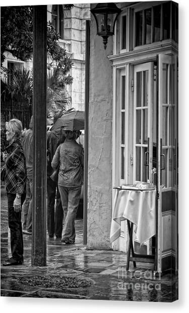 Bloody Mary Canvas Print - Rainy Day Lunch New Orleans by Kathleen K Parker