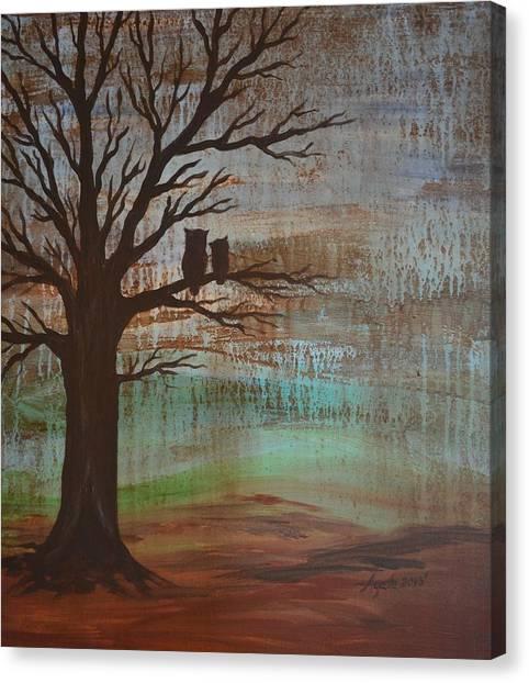 Rainy Day Owls Canvas Print