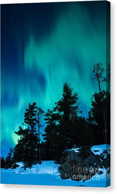 Rainy Lake Lights Canvas Print
