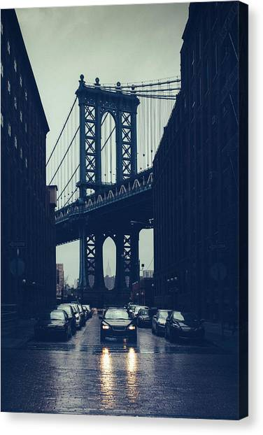 Rainy New York City Canvas Print by Ferrantraite