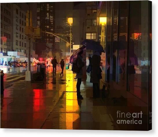 Rainy Night New York Canvas Print