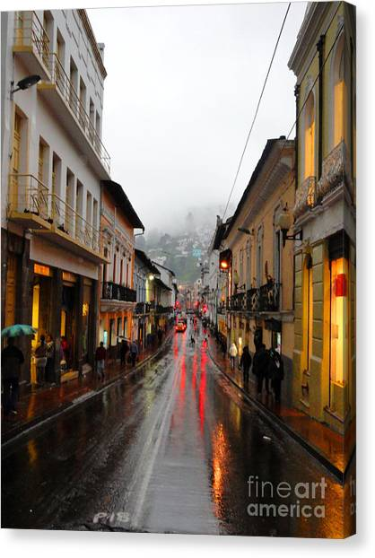Rainy Quito Street Canvas Print