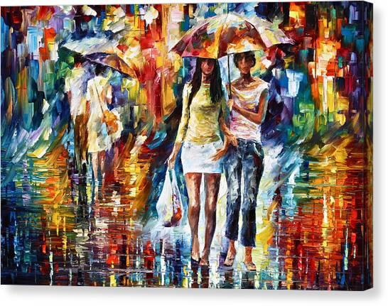 Shopping Bag Canvas Print - Rainy Shopping by Leonid Afremov